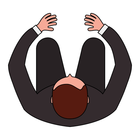 business man is sitting view from above vector illustration