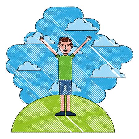 man standing arms up in landscape clouds sky vector illustration  vector illustration