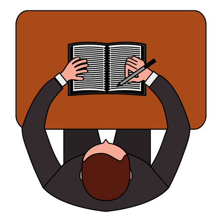 top view businessman works with notebook on the table pencil in his hand vector illustration