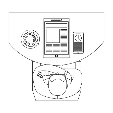 aerial view of man sitting with tablet and smartphone vector illustration design Illustration