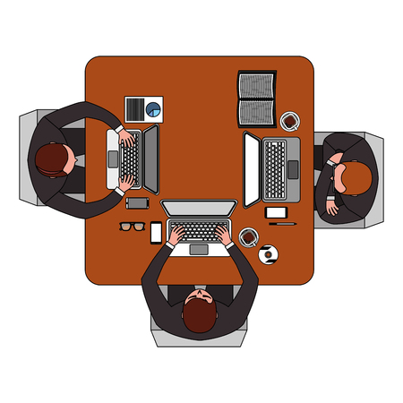 business people team working at computers sit at desk with top view vector illustration Illustration