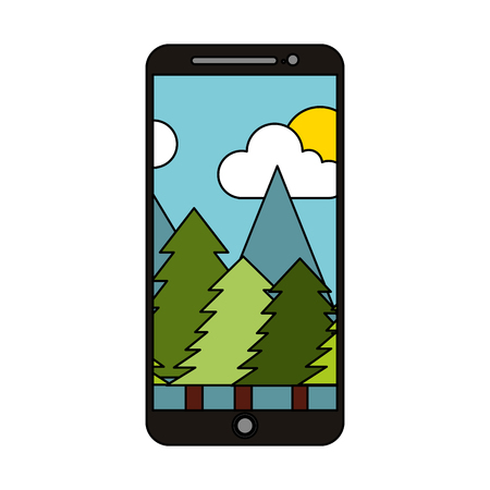 smartphone wallpaper forest trees natural vector illustration