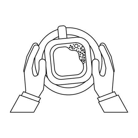 hands with coffee cup drink icon vector illustration design Illustration