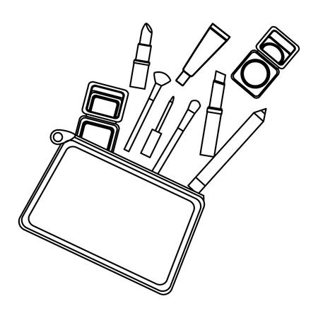 cartridge case with make up elements vector illustration design Ilustração