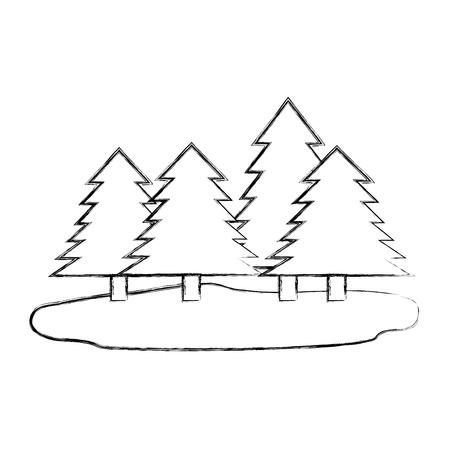 forest pines landscape scene vector illustration design Çizim