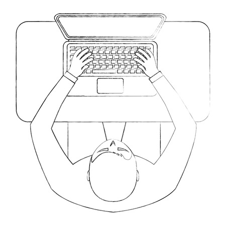 aerial view of man sitting in the office vector illustration design