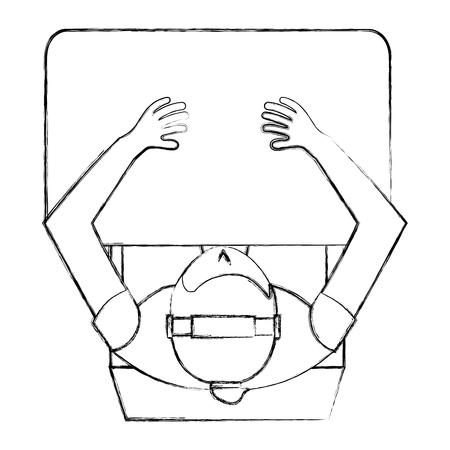 aerial view of man sitting in the desk vector illustration design Illusztráció