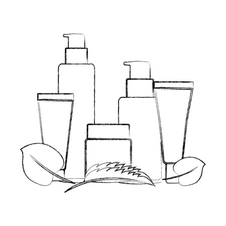 bottles of cream female with leafs isolated icon vector illustration design