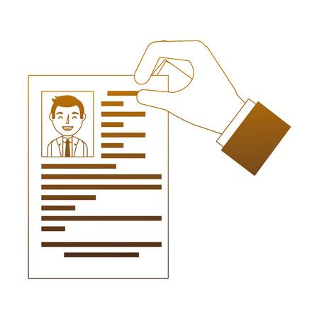 recruitment resume document in hand vector illustration