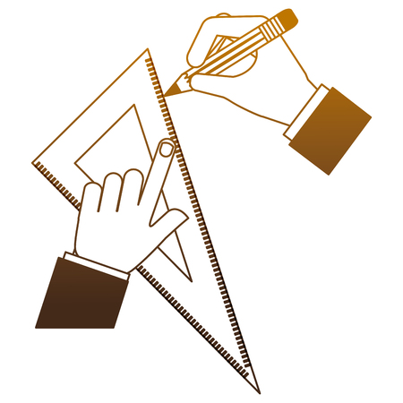 architect or designer hands with pencil and ruler triangle vector illustration degrade color Stock Illustratie