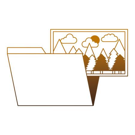 folder file picture gallery album vector illustration degrade color