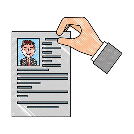 recruitment resume document in hand vector illustration drawing Illustration