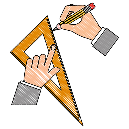 architect or designer hands with pencil and ruler triangle vector illustration drawing