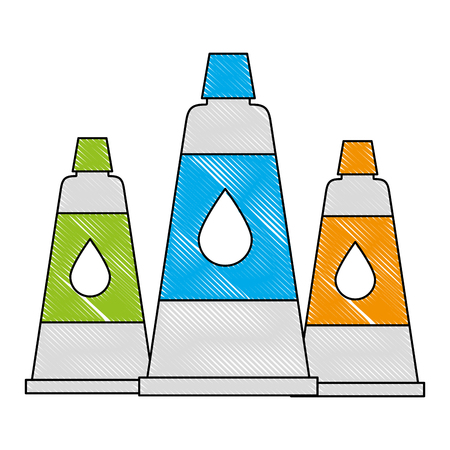 artistic paint tube acrylic color supplies vector illustration drawing Illustration