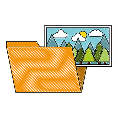 folder file picture gallery album vector illustration drawing Illustration