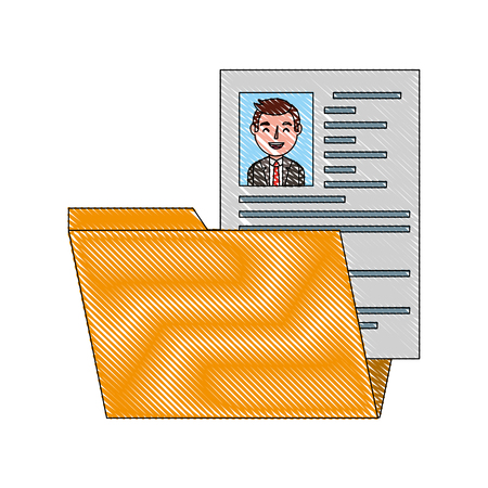 folder resume curriculum male worker vector illustration drawing Stock Illustratie