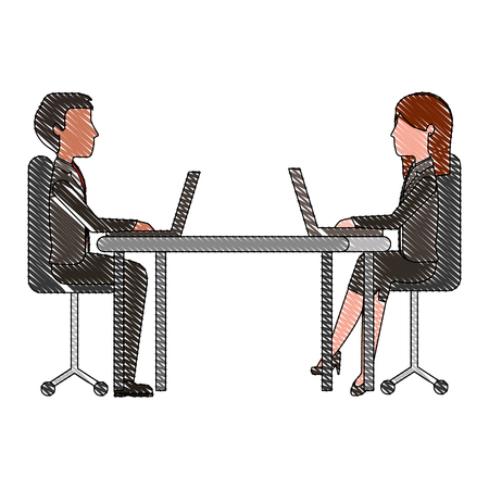 business man and woman in the office working at the desk vector illustration drawing