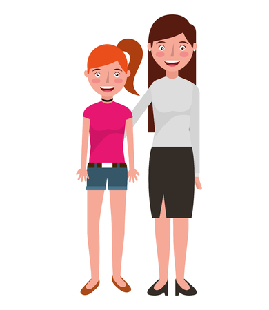 happy together mom and daughter family vector illustration