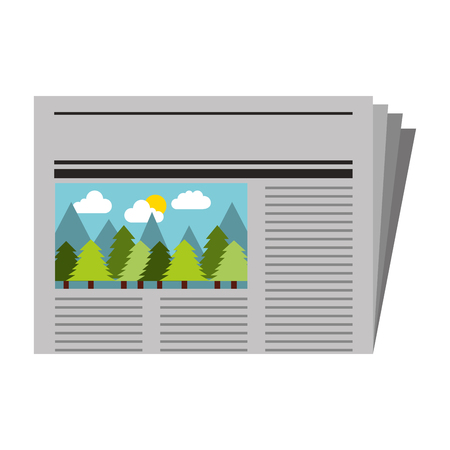 newspaper with picture forest notice vector illustration Illustration