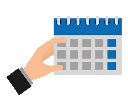 hand holding calendar planning reminder vector illustration
