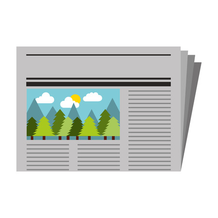 newspaper with picture forest notice vector illustration 일러스트