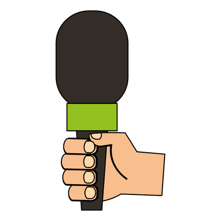 hand with press microphone vector illustration design
