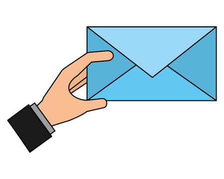 hand with envelope isolated icon vector illustration design
