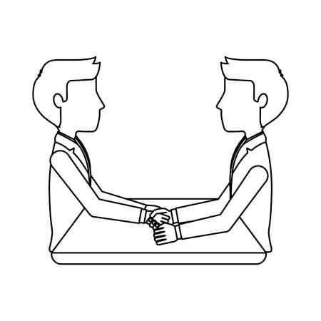 businessmen coworkers handshake team at desk vector illustration