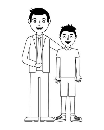 Familienvater, der ihren jugendlichen Sohn Vektorillustration umarmt