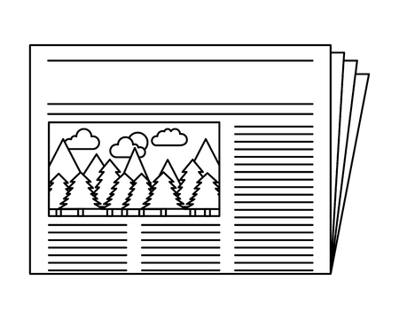 newspaper with picture forest notice vector illustration Illusztráció