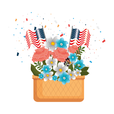floral decoration with USA flags in basket vector illustration design Vettoriali