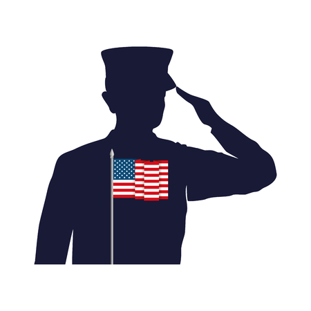 silhouette of military saluting with USA flag vector illustration design Stock Vector - 101410574