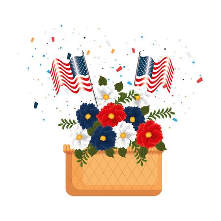 floral decoration with USA flags in basket vector illustration design Illustration