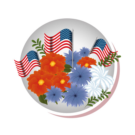 floral decoration with usa flags frame vector illustration design Stock Vector - 101410577