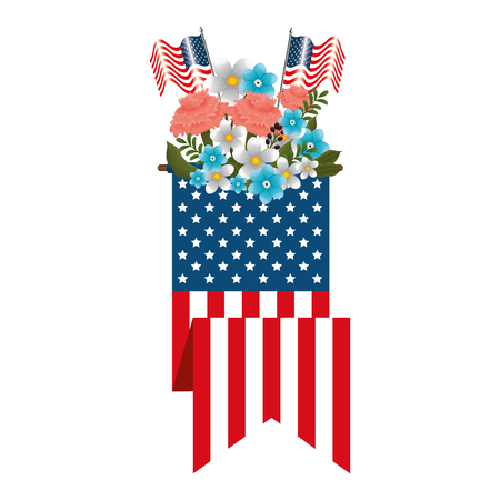floral decoration with usa flags and ribbon vector illustration design