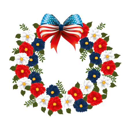 floral decoration with USA flags and bowtie vector illustration design