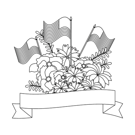 floral decoration with usa flags and ribbon frame vector illustration design Illustration