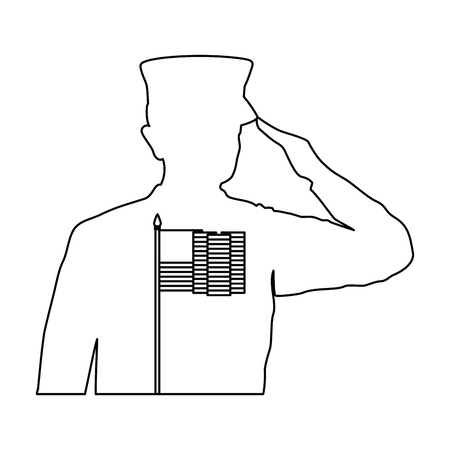 silhouette of military saluting with USA flag vector illustration design