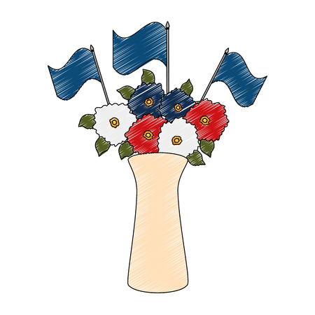 flowers decoration in vase with flags vector illustration design Çizim