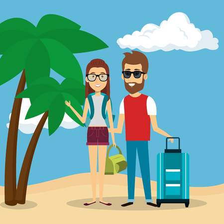 couple in the beach characters vector illustration design Illustration