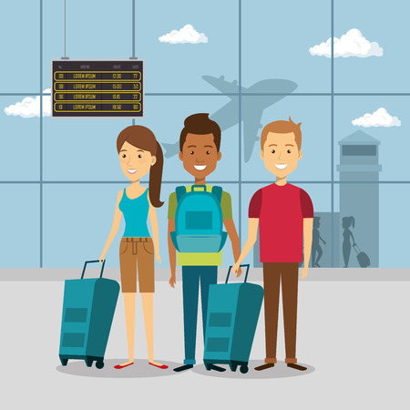 gruppo di viaggiatori nel disegno di illustrazione vettoriale aeroporto