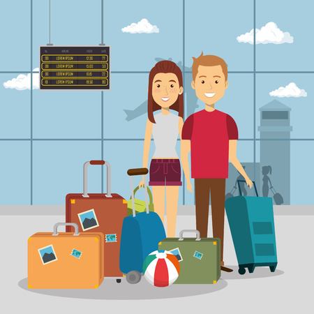 couple travelers in the airport characters vector illustration design