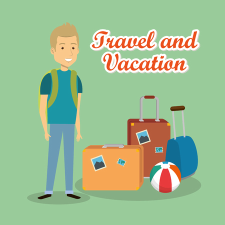 man traveler with suitcases characters vector illustration design 向量圖像