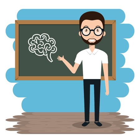 man teacher in the classroom vector illustration design  イラスト・ベクター素材