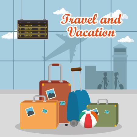 airport terminal travel scene vector illustration design  イラスト・ベクター素材