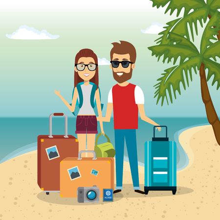 couple in the beach characters vector illustration design Иллюстрация