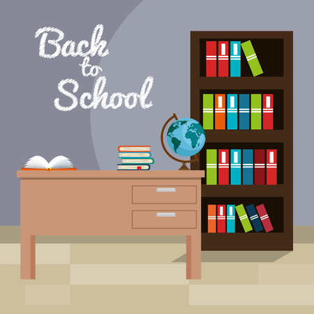 back to school classroom scene vector illustration design 일러스트
