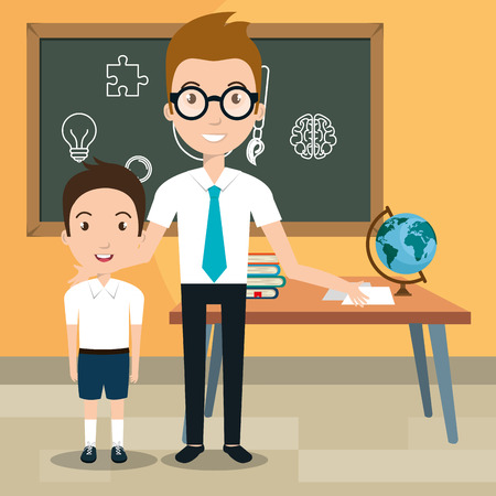 man teacher with students in the classroom vector illustration design