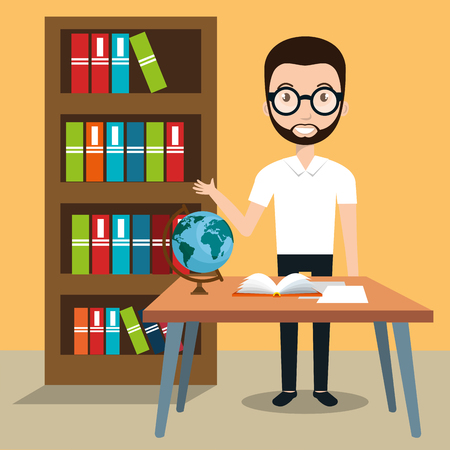 man teacher in the classroom vector illustration design Illustration