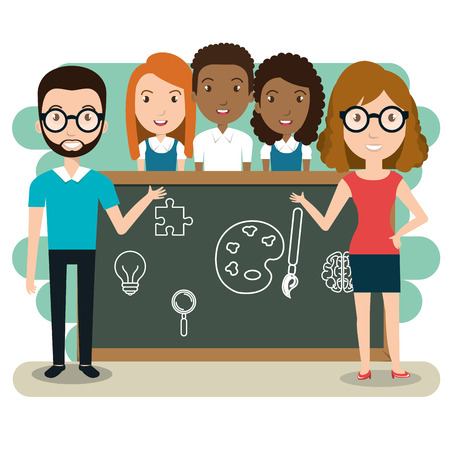 couple teachers with students in the classroom vector illustration design Çizim